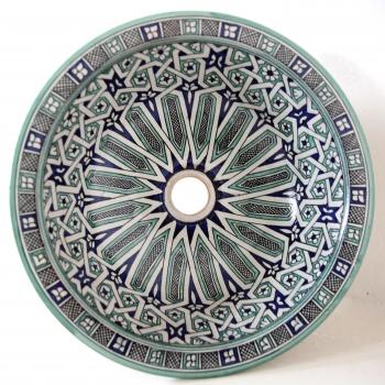 Orientalisches Waschbecken handbemalt aus Keramik FES-V-III Blau/Grün D40cm