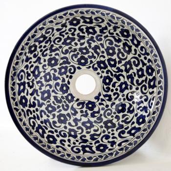 arabisches Waschbecken handbemalt aus Keramik FES-V-II Blau D35cm