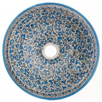 Marokkanisches Waschbecken handbemalt aus Keramik FESI-X Hellblau D39cm