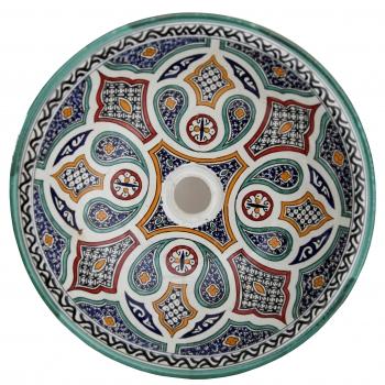 Orientalisches Waschbecken handbemalt aus Keramik FES-X Multi D41cm