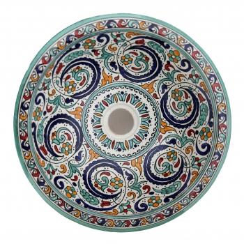Orientalisches Waschbecken handbemalt aus Keramik FES-XI Multi D40cm