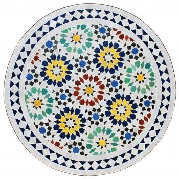 Marokkanischer Mosaiktisch ANKABUT D60cm Weiß/Bunt