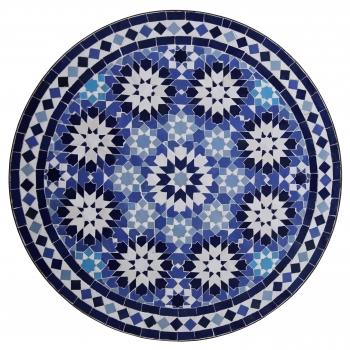Marokkanischer Mosaiktisch ANKABUT D60cm Blau/Dunkelblau