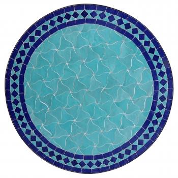 Marokkanischer Mosaiktisch HILAL Meerblau/Blau D60cm