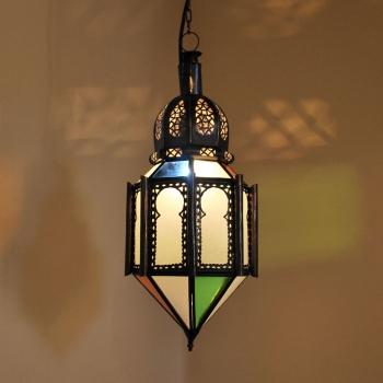 Marokkanische Pandellanpe FELOUS Milchglas & Buntglas