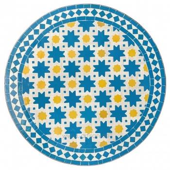 Marokkanischer Bistrotisch aus Mosaik Noha zitronengelb/Blau D60cm