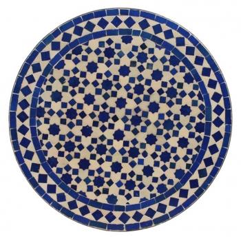 Marokkanischer Mosaiktisch TERSIA blau D60cm