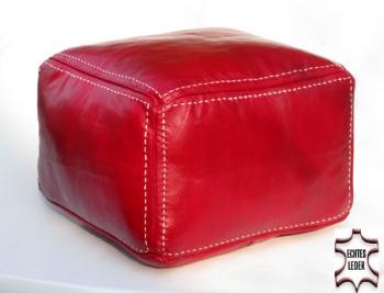 Sitzkissen aus Leder CARREE Rot mit Naht 45x45 cm