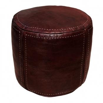 Marokkanisches Leder Sitzkissen D45cm Dunkelbraun
