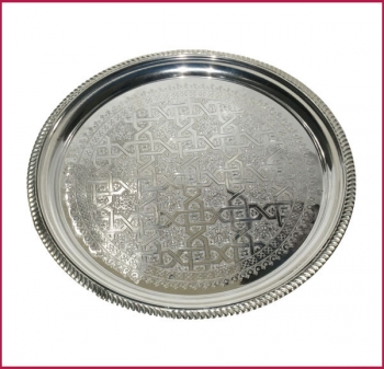 Marokkanisches Tee Tablett D45cm Silber