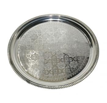 Orientalisches Teetablett D50cm Silber