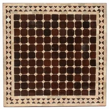 Marokkanischer Mosaiktisch quadratig (60x60)cm Braun/Beige