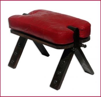 Arabischer Leder Sitzhocker RABATI Rot