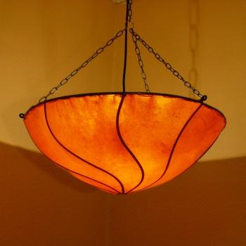 Hängelampe aus Leder KOBA Orange D 50cm