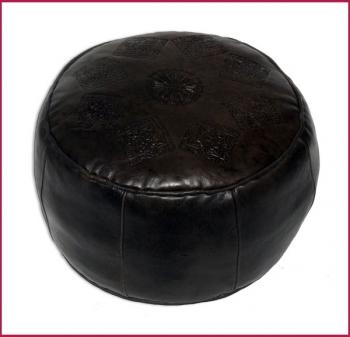 Orientalisches Ledersitzkissen Rabat D45cm dunkelbraun