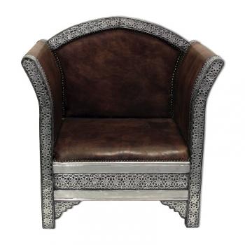 Orient Sessel Kasbah Echtleder, Silbermetall