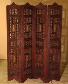 Orientalischer arabischer marokkanischer Paravant aus Massivholz ARABESQUE Dunkel Honigbraun, vierteilig H180 x B132cm
