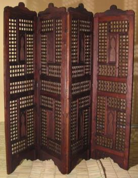 Orientalischer arabischer marokkanischer Paravant Raumtrenner  aus Vollholz MOSHARABIA Dunkel Honigbraun, Braun H180 x B200cm.