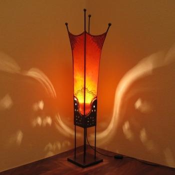 Orientalische Lederlampe - PHARAO - Massives Metall H100cm