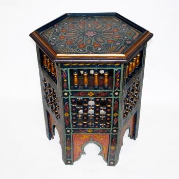 Marokkanischer Beistelltisch aus Holz, Handbemalen in Maurischen- Stil