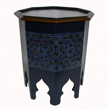 Orientalischer Teetisch aus Holz, Samar-Klein Handbemalen.