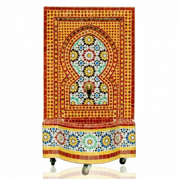 Wasserbrunnen aus Mosaik Ankabut 130x70 cm Bordeaux/Gelb
