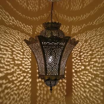 Marokkanische Lampe aus Messing Warda-Xl