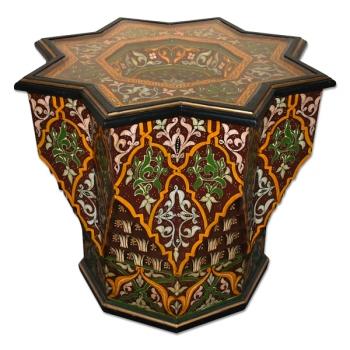 Marokko Tisch aus Holz, Handbemalen Nejma-Jefna