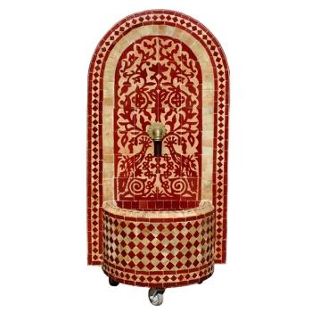Mosaik Brunnen aus Marokko Taous 125 x 69 cm Rot