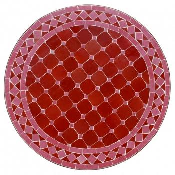 Mosaiktisch aus Marokko D60cm FANIDI  Rot/rosa D60cm