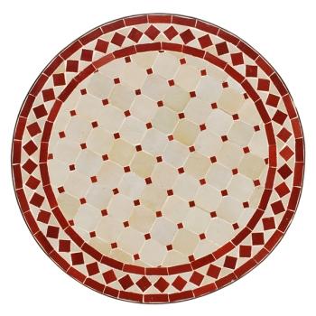 Beistelltisch aus Mosaik D45cm -Beige/Bordeaux-