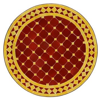 Mosaiktisch D60cm Bordeaux/Gelb