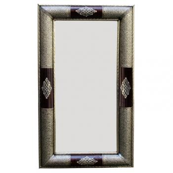 Orientalischer Spiegel aus Metall und Leder Kados 120 x 70cm