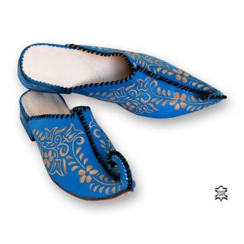 Orientalischer Leder-Pantofell Türkis