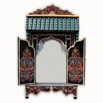 Orientalischer Holzspiegel Bab handbemalt