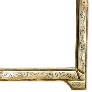 Orientalischer Spiegel LOUDAYA-L weiß H85cm