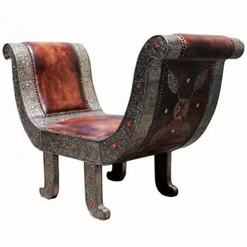 Orientalischer Sitzbank Fantasia Echtes Leder und Silbermetall