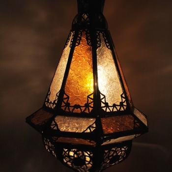 Orientalische Lampe  - SAMAKA - Amber-Weiss