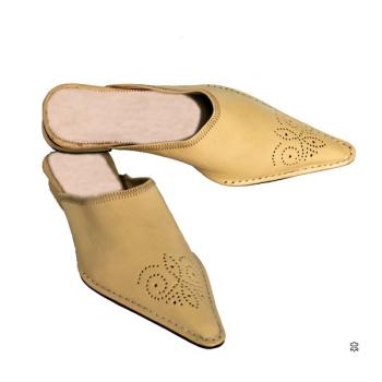 Marokkanische Leder-Pantolette Beige