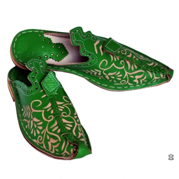 Orientalische Schuhe Mkaschar Grasgrün