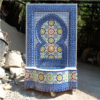 Mosaik Brunnen Ankabut 130x70 cm Blau