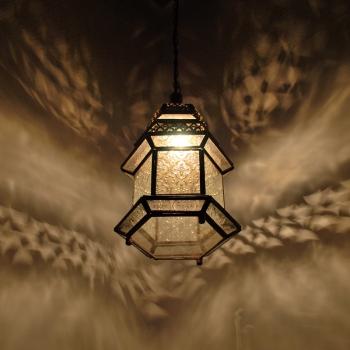 Marokkanische Glaslaterne MSEDES Weiss