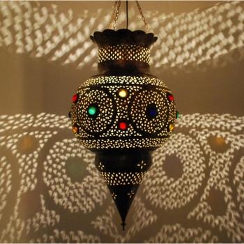 Orientalische Hängeleuchte Kora-XL4  aus Messing