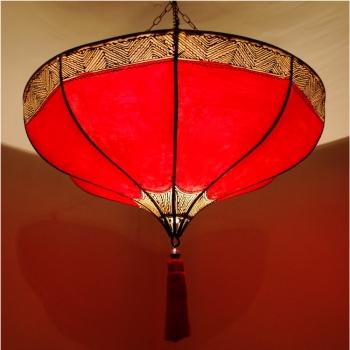 Hängelampe aus Leder ROUMIA Rot D54cm