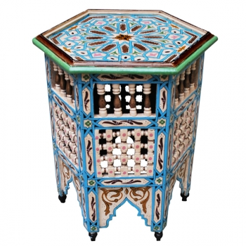 Arabischer Tisch Zwack hellblau & weiss