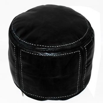 Arabisches Leder Sitzkissen RONDA Schwarz D45cm