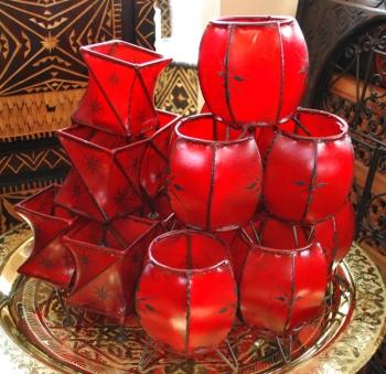 Orientalische Teelichter  Bermil rot