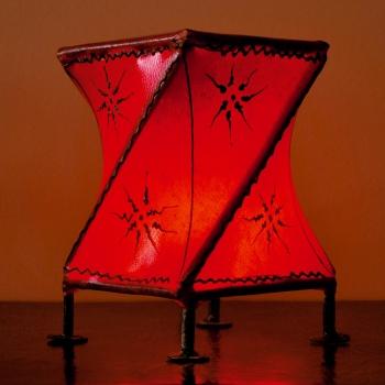 Orientalisches Windlicht  aus Leder Croisè rot