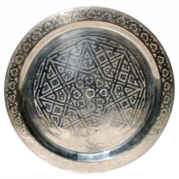 Marokkanisches Teetablett D60cm Versilbert