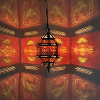 Orientalische Deckenlampe Zowak Rot